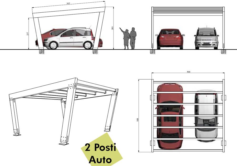 Carport in legno predisposione per fotovoltaico 2 posti - Misure garage per 2 auto ...